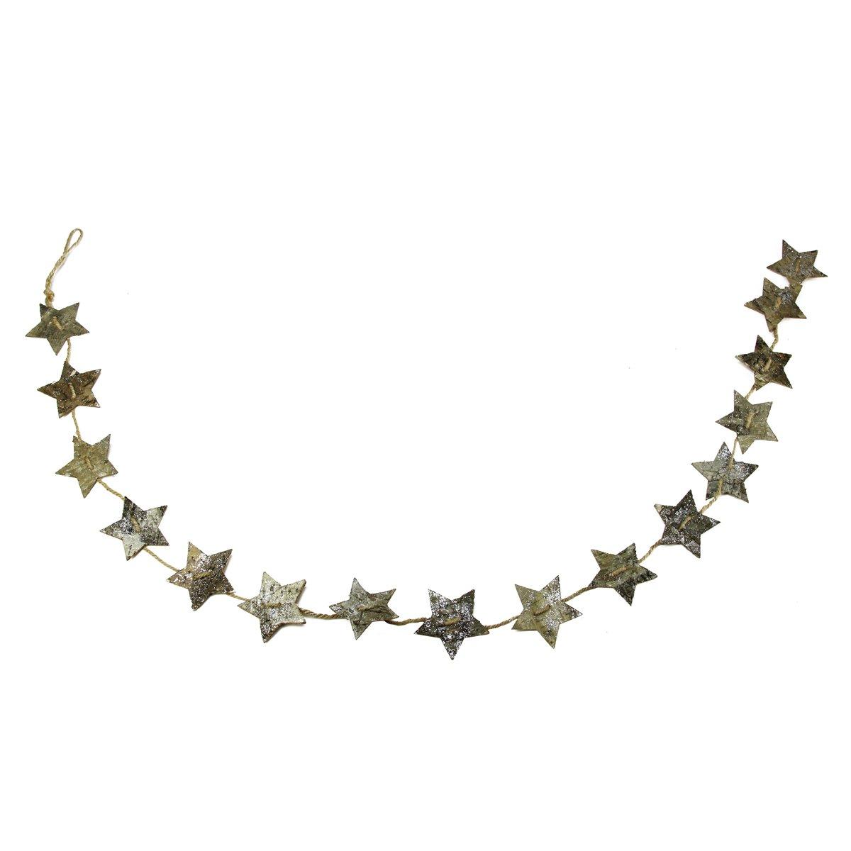 Unlit GALLERIE II 60 Brown Glittered Birch Bark Star Novelty Christmas Garland