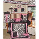 SISI Baby Bedding - Rose Damask 13 PCS Crib Bedding