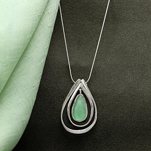 Green Glass Pendant Necklace, Silver Ancient Roman Design | Premium Quality | Perfect Gift for Her