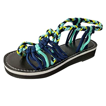 Amazon.com: YKARITIANNA Women Summer Fashion Rome Bandage Sandals Peep Toe Casual Flat Beach Sandals