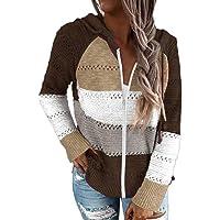 Suéter Cremallera con Capucha para Mujer Chaqueta Jerséis de Punto Manga Larga con Raya ahuecada Sudadera de Punto…