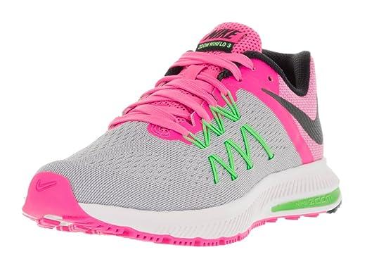 Nike Women's Zoom Winflo 3 Wlf GryBlkPnk BlastElctrc Gr
