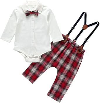 Outfits for Toddler Girls Clothes Sets 2 Pcs Plaid Bib Pants Toddler Girls Rompers and Jumpsuits