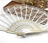 White Fashion Vintage Spanish Lace Trim Hand Fan Portable Folding Hand Held Fan Party Dance Folding Hand Fan Home Decor