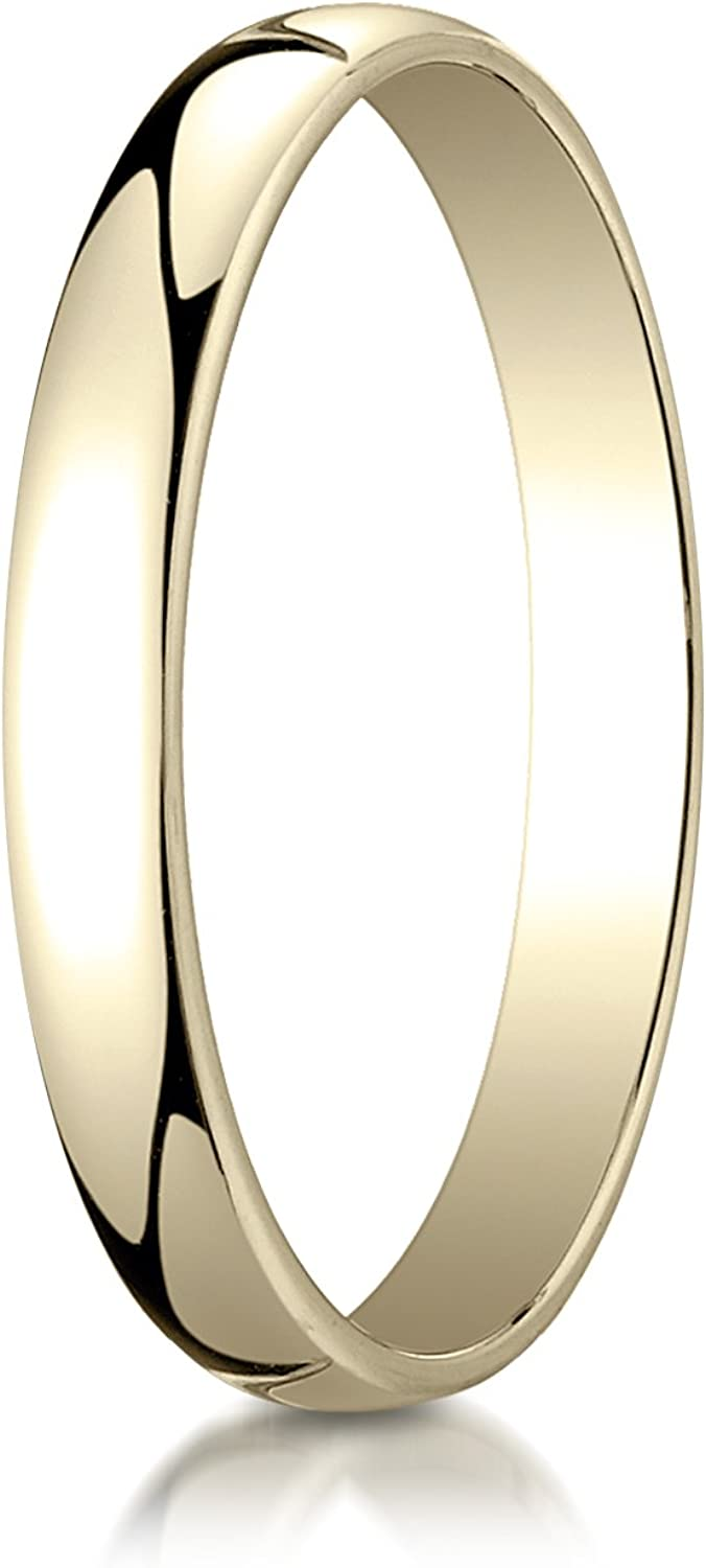 PriceRock 14K Yellow Gold 3mm Low Dome Light Wedding Band Ring for Men /& Women Size 4 to 15