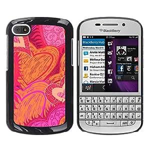 Cubierta protectora del caso de Shell Plástico || BlackBerry Q10 || Drawn Sun Flames Love Pink @XPTECH