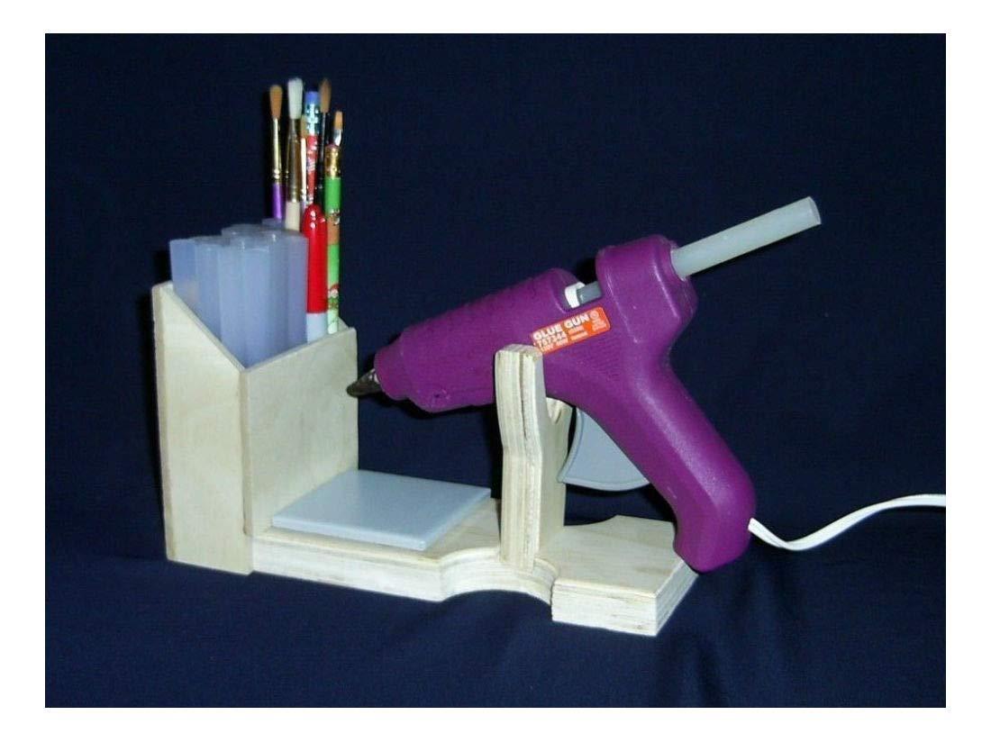 Hot Glue Gun Holder Original Wood Stand Organizer Floral Crafts Scrapbooking by Unknown