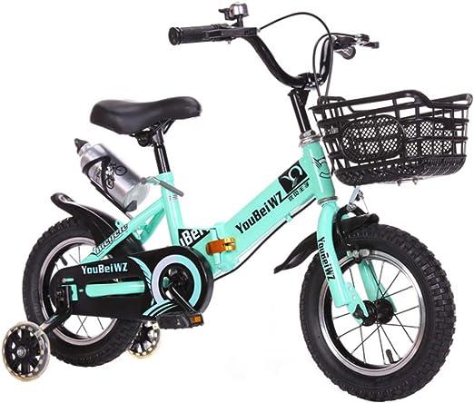 YWZQ Bicicleta para niños, Marco Plegable Alto Acero Carbono Neumáticos Antideslizantes Resistentes al Desgaste Frenos Dobles Seguros y sensibles Bicicleta Ajustable para niños Regalos,Verde,20: Amazon.es: Hogar