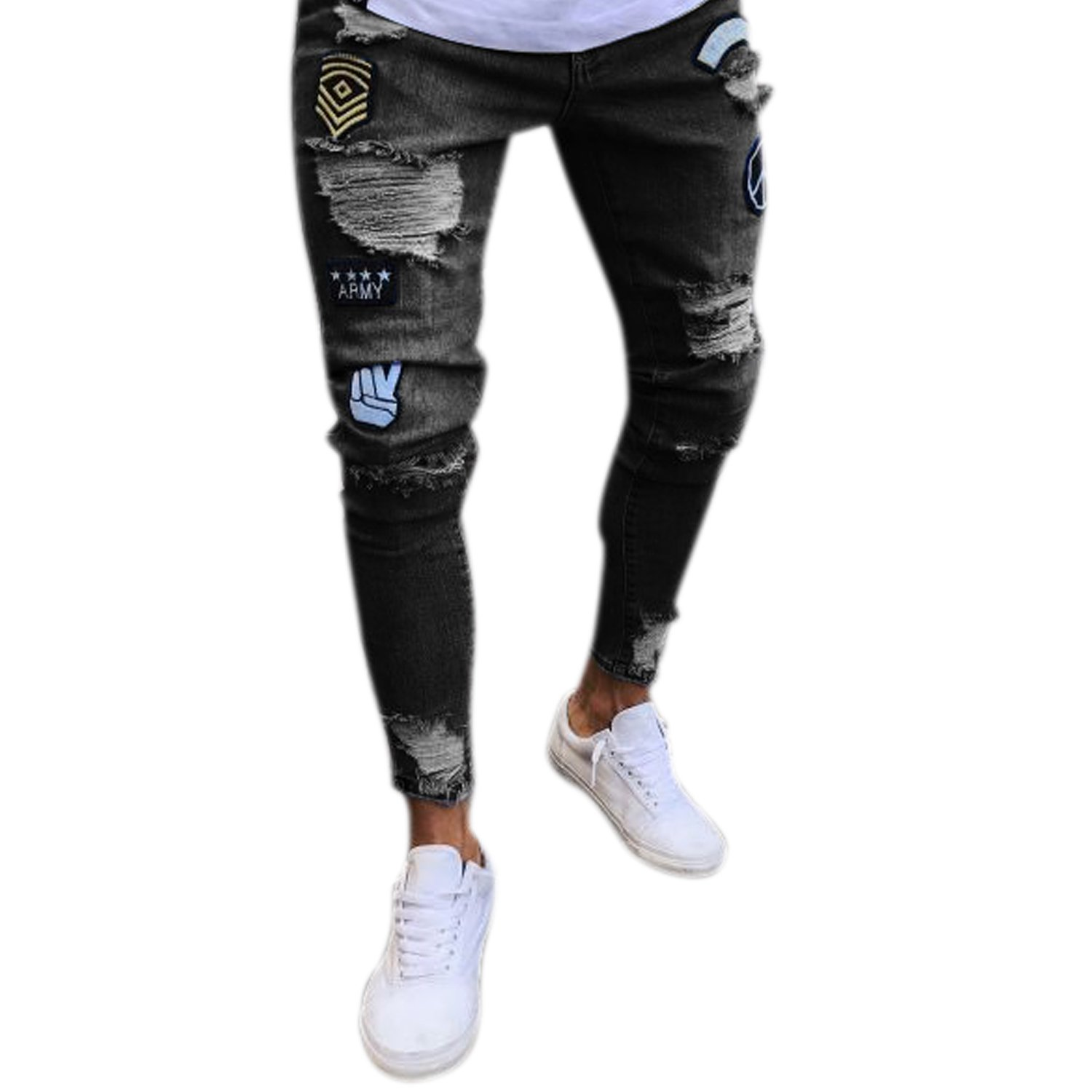7b393fe5b6e Material: Cotton Blend Fashionable Ripped Holes Denim Jeans,Zipper deco.  Motocross-style ribbing and panels,Regular waist, ultra-slim legs with  quilted ...
