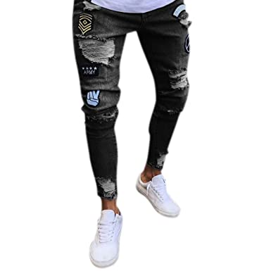 0eb63f749c Katesid Men's Ripped Skinny Distressed Destroyed Slim Fit Stretch Biker  Jeans Pants with Holes (Black