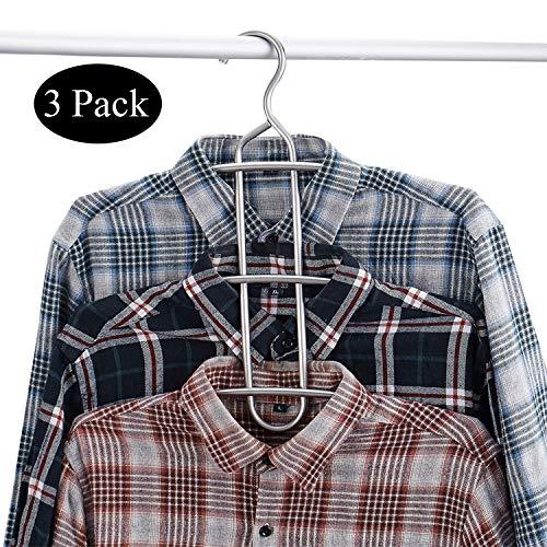 DOIOWN Multipurpose Stainless Steel Closet Hangers Blouses Shirt Dresses Scarf Hangers Organizer (Set of 3, Non-Slip) (3-Pieces)