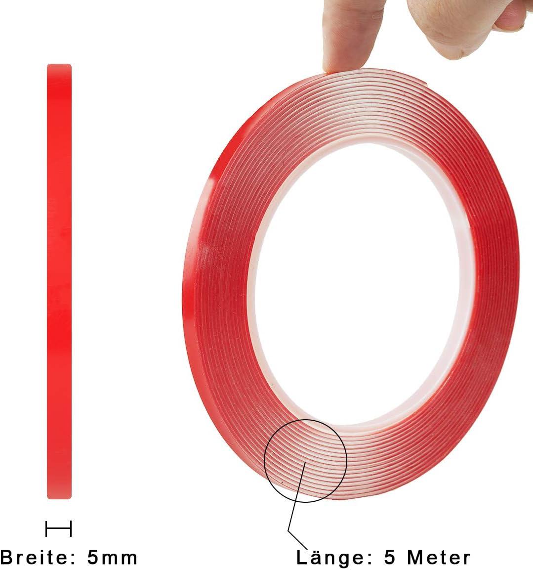 15mm Doppel-Band Sticky Tape 2 St Heavy Duty Doppelseitiges Klebeband 5 Meter L/änge Acryl Klar Montageklebeband