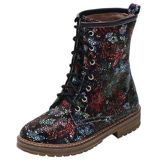 Geilisungren Schneeschuhe Für Frauen Damen Schneestiefel Vintage Ethnisch Stil Blumen Drucken Schnürstiefel Winterstiefel Wasserdichte Snow Boots