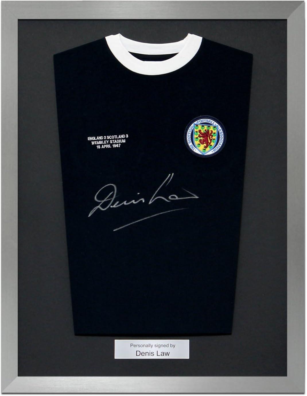 La ley enmarcada de Denis firmó la camisa del fútbol de Escocia con el bordado de Wembley 1967: Amazon.es: Deportes y aire libre