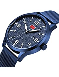 Men's Analog Quartz Watch with Numbers Date Waterproof Blue Stainless Steel Mesh Band Fashion Casual Dress Wrist...