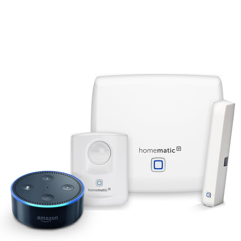 Homematic IP Starter Set Sicherheit + Amazon Echo Dot (2. Generation), Schwarz