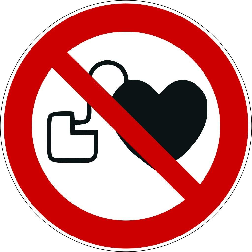 Pegatinas sin acceso para personas con marcapasos o desfibriladores implantados 9 unidades de signo de prohibici/ón P007