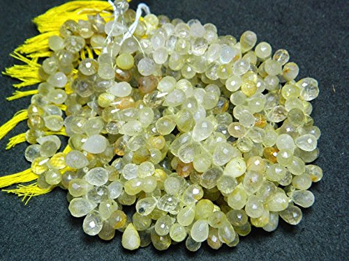 oro Rutilated Quartz  Gemstone Beads  Tear Drop Beads  Faceted Briolettes  6x10mm  4 Inch