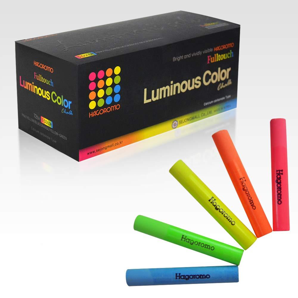 HAGOROMO Fulltouch Luminous Chalk 1 Box, Non-Toxic, Dustless [72 Pcs/5 Color Mix] by Hagoromo