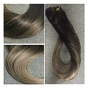 "Full Shine 18"" 10 Pcs 120g Full Set Clip in Hair Extensions Ombre Balayage Human Hair Clip in Human Hair Extensions Color #2 Fading to Color #6#18 Ash Blonde Hair Extensions Human Hair"