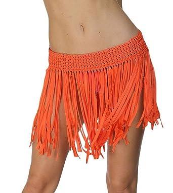 Mini falda con cobertura de flecos Moxeay Mujer Elástico Cintura ...