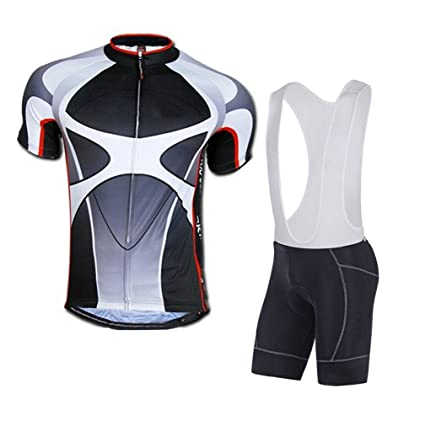 d075b76d3 sponeed Men s Cycle Bib Shorts Padded Bike Riding Kits Outfit Asia L US M  Gray