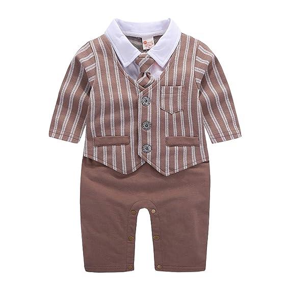 73ca0eb0476aa AIKSSOO bébé garçon Gentil Barboteuse Costume de Mariage Formel Cravate  Smoking Size 60 (Brown)