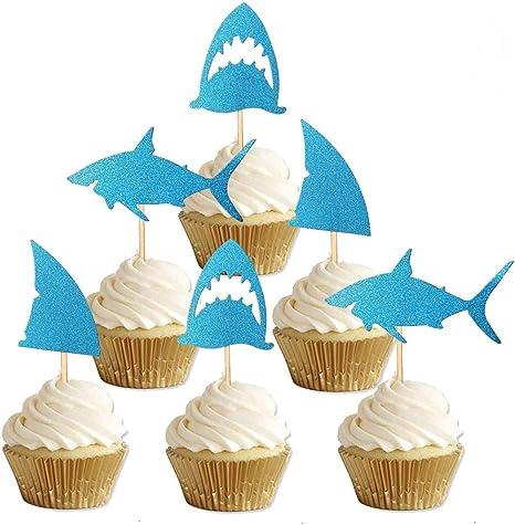 24-pack Glitter Shark Cupcake Toppers, Shark Fin Cupcake Toppers, Shark Themed Party Supplies Decorations Baby Shower Birthday Favor.
