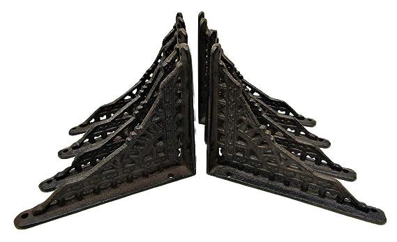 "Set of 4 Cast Iron Shelf Brackets 6/"" x 7/"" Hangers New Eastlake Antique-Style"