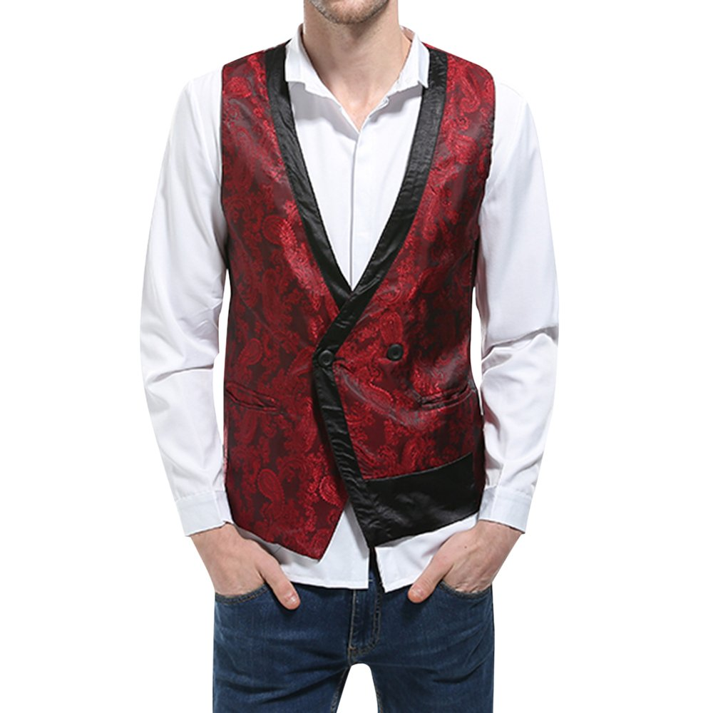 Rera Mens Vintage Waistcoat Embroided Business Casual Single Breasted Suit Vest MA247R249