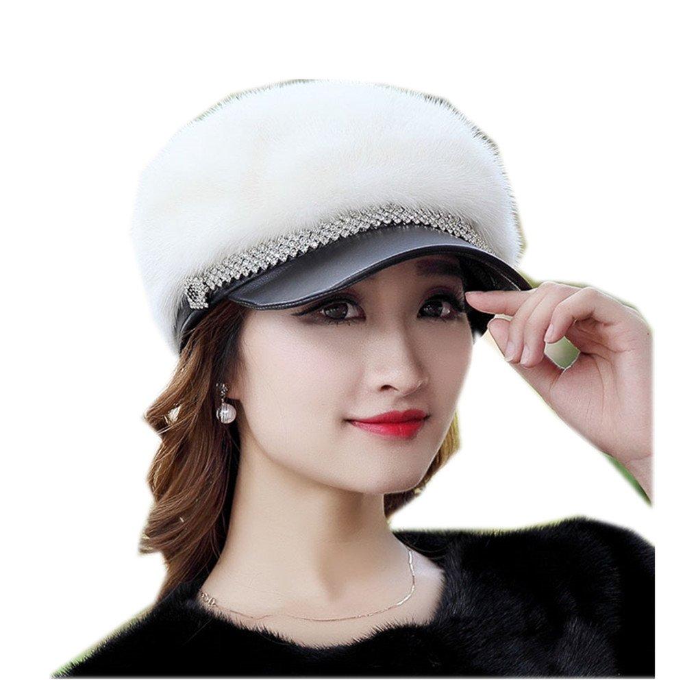 MH Bailment New Mink Fur Winter Korean Outdoor Fur Ladies Mink Hat Duck Tongue (57CM, White)