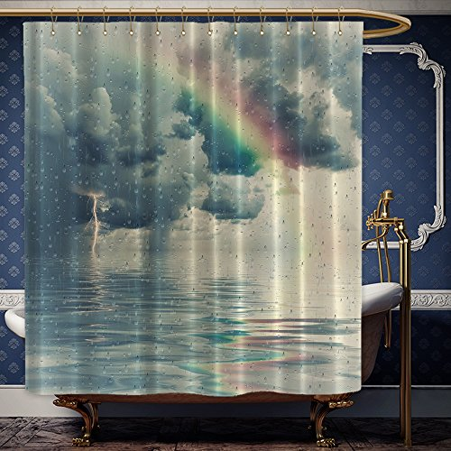 Wanranhome Custom-made shower curtain ct Artwork Art Prints Romantic Window Water Drops View Melancholia Therapy Lonely Tree Unique Teal Green Yellow Red Gray For Bathroom Decoration 36 x 72 - Ct Outlets Near