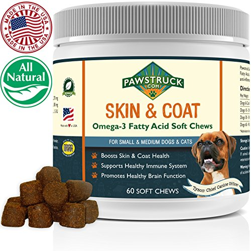 Natural Omega 3 Fish Oil for Dogs & Cats Soft Chew Supplement (Small & Medium Dogs/Cats, 60 CT) w/ Omega-3 Fatty Acids, EPA, DHA, Vitamin E for Healthy Skin, Coat, Joints & Brain Function, Made in USA (Dog 6 Tablets)