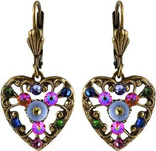 product image for Anne Koplik Fila Heart Earrings, Gold Plated Multicolor Crystal Dangle