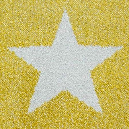 dise/ño de Nubes y Estrellas Color Gris Ayyildiz Alfombra Infantil Amarillo y Blanco