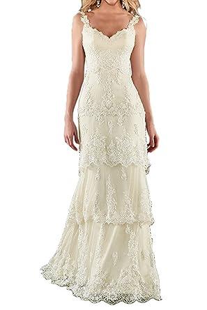 Women\'s Empire Double Lace Straps Bridal Beach Boho Wedding Dress at ...