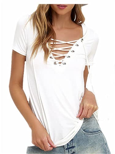 SHUNLIU Camisetas Mujer Tallas Grandes Mujer Camiseta de Manga Corta Blusa Ocasional V-Cuello T-shirt Color Sólido Blusas