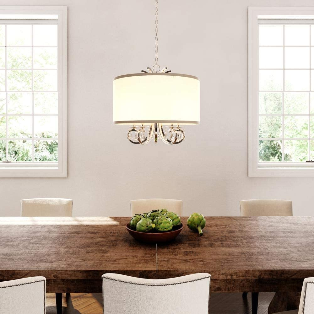 Amazon Com Home Decorators Collection 5 Light Polished Nickel Drum Pendant Chandelier With Beads Home Kitchen