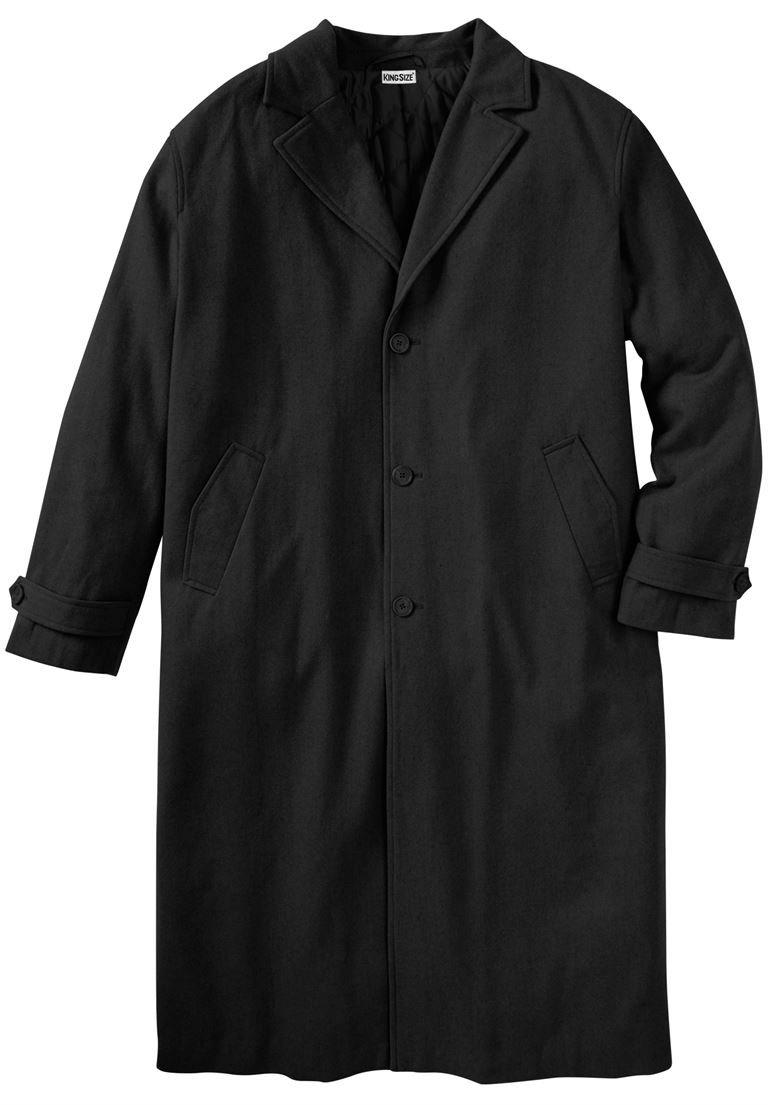 KingSize Men's Big & Tall Wool-Blend Long Overcoat, Black Big-4Xl