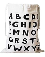Canvas Laundry Large Drawstring Alphabet Bag Hamper Organizers Storage for Kids Toys, Baby Clothing, Children Books, Gift Bag