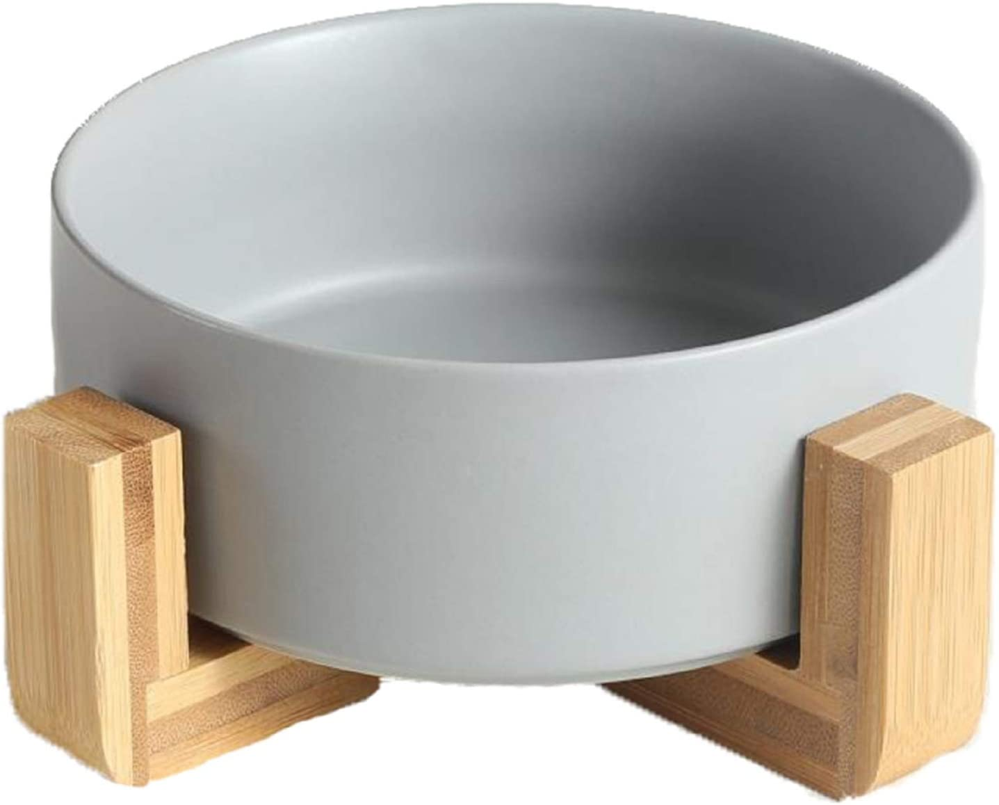 QFULL Ceramic Round Dog Cat Bowl - Durable Ceramic Food Water Elevated Dish for Pet,with Wood Stand,28 Ounces