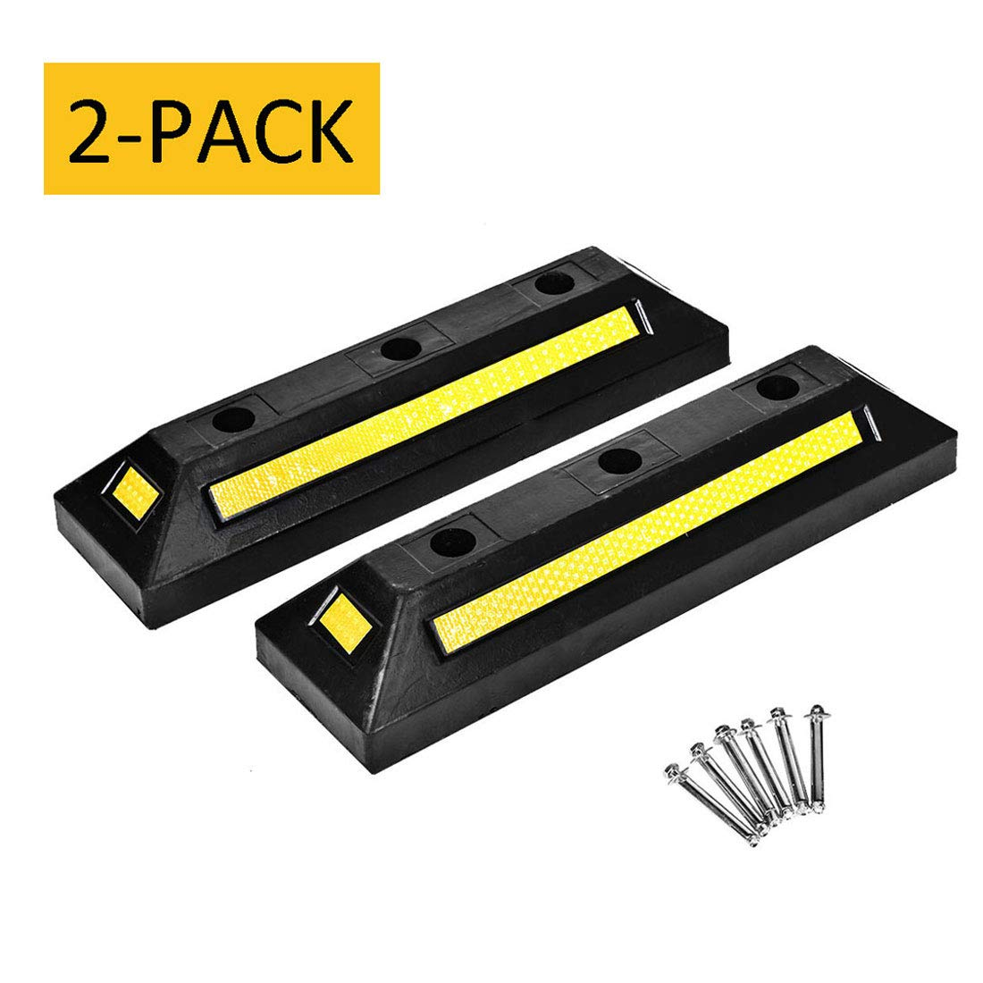 Cozylifeunion 2 Pack Heavy Duty Rubber Parking Block Curb Car Guide Garage Wheel Stop Stoppers with Yellow Reflective Stripes for Car, Truck, RV, Trailer, and Garage
