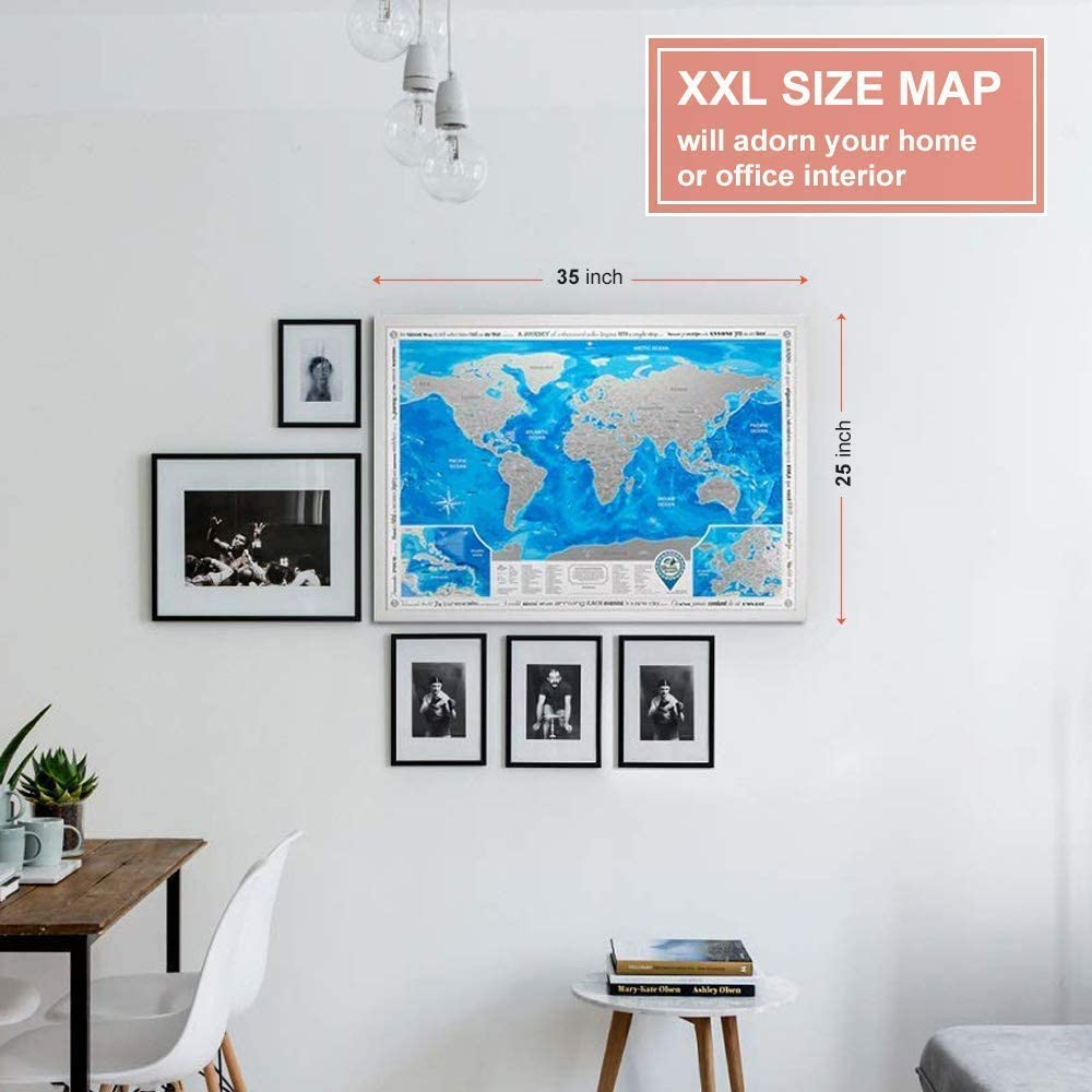 Takestop/® Mapa del mundo papel geogr/áfico azul Mapamundo para rascar 88 x 52 cm p/óster diario viaje idea regalo decoraci/ón dormitorio casa oficina pared
