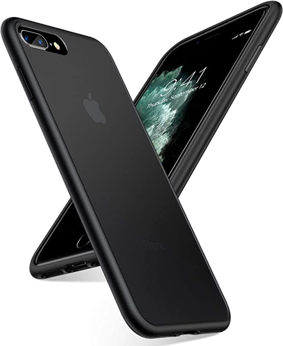 TORRAS Shockproof Designed for iPhone 8 Plus Case/iPhone 7 Plus Case, [Military Grade Drop Protection] [Upgraded Materials] Ultimate Delicate Touch and Translucent Matte Protective Case, Black