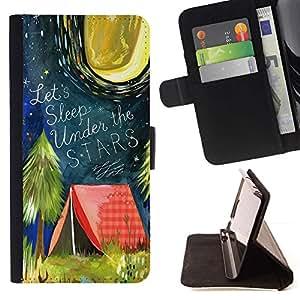 LG Magna / G4C / H525N H522Y H520N H502F H500F (G4 MINI,NOT FOR LG G4)Case , Carpa Cita Bosque Luna de la noche- la tarjeta de Crédito Slots PU Funda de cuero Monedero caso cubierta de piel