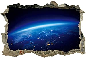 DNVEN 23 inches x 15 inches Earth Surface Space Porthole Window Milky Way Galaxy 3D Window View Wall Arts Decals Decors Removable Stickers Galaxy Space Planet