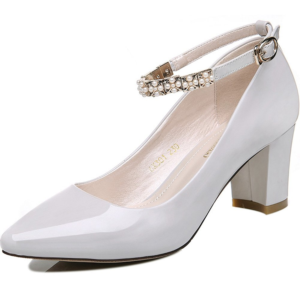 Women's High Heels Pumps Pointy Toe Buckle Strap Platform Chunky Chic Bootie Comfortable Walking Shoes