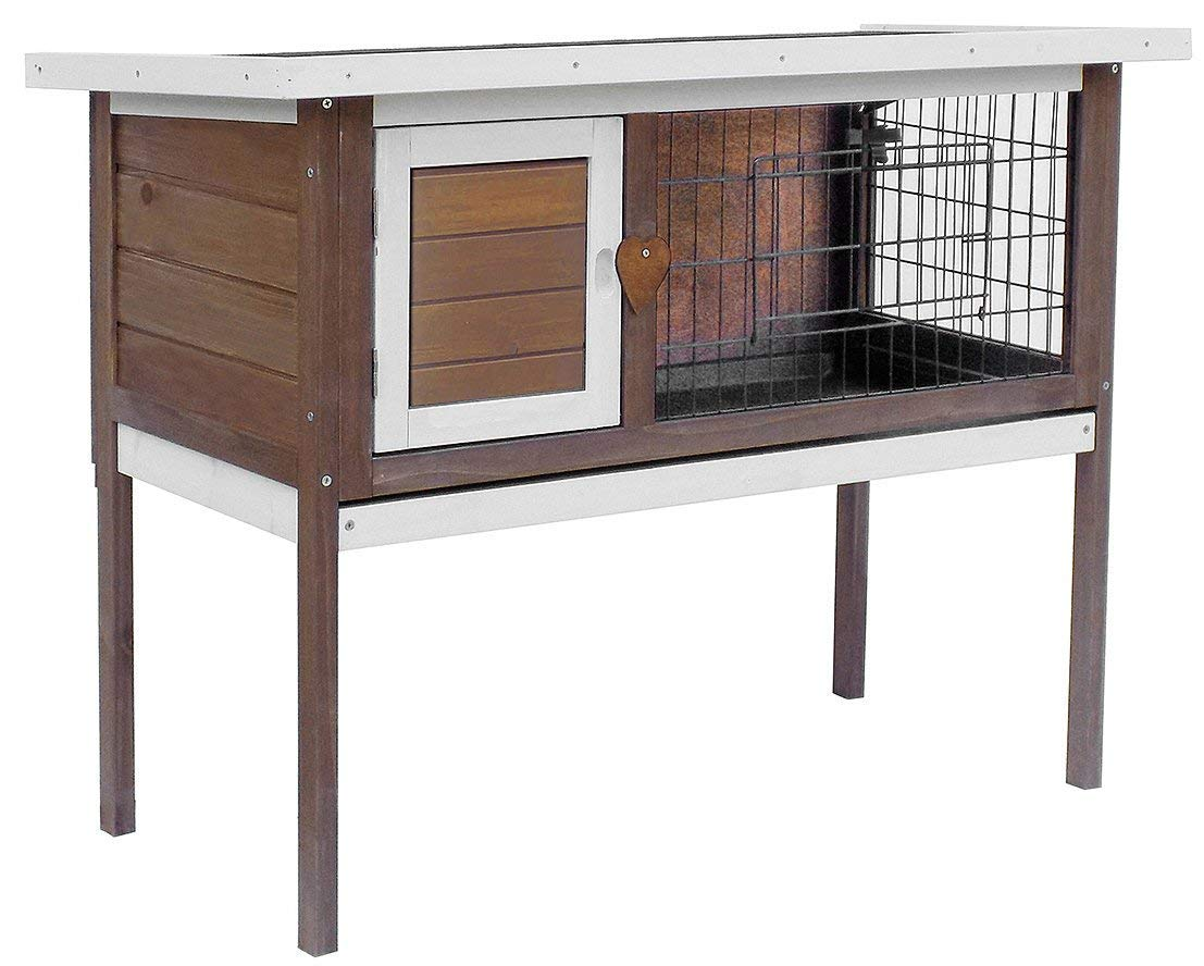Merax Pet Rabbit Bunny Wood House Hutch with ABS Tray, Auburn by Merax