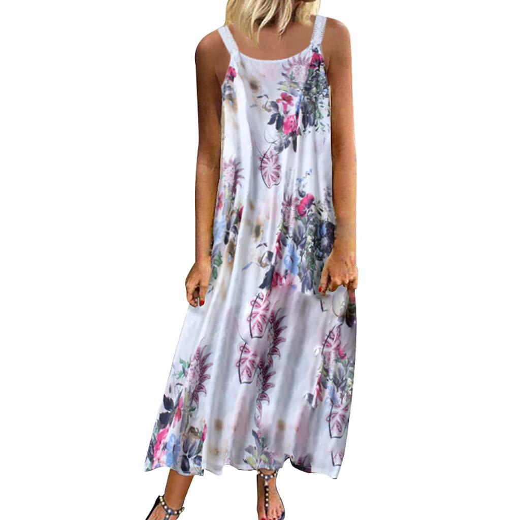 Nmch Women's Plus Size Vintage Sleeveless Maxi Dress Bohemian Floral Print Loose Casual Summer Long Dresses(Pink,XXXL)