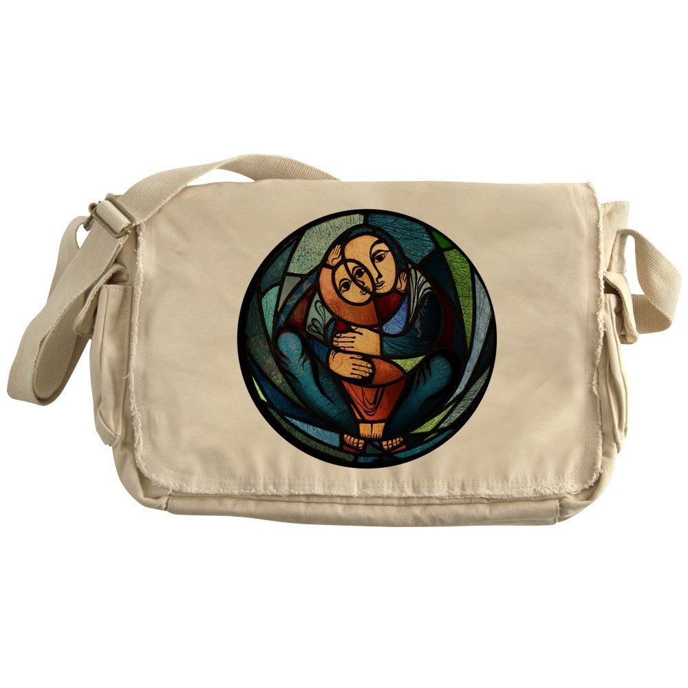 Truly Teague Khaki Messenger Bag Stained Glass Mother and Child